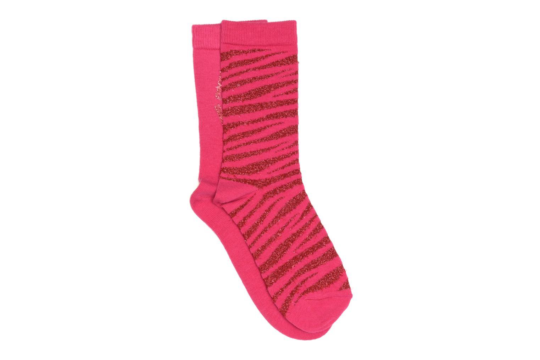 Medias y Calcetines Sarenza Wear Calcetines uni & léopard Pack de 2 Rosa vista de frente