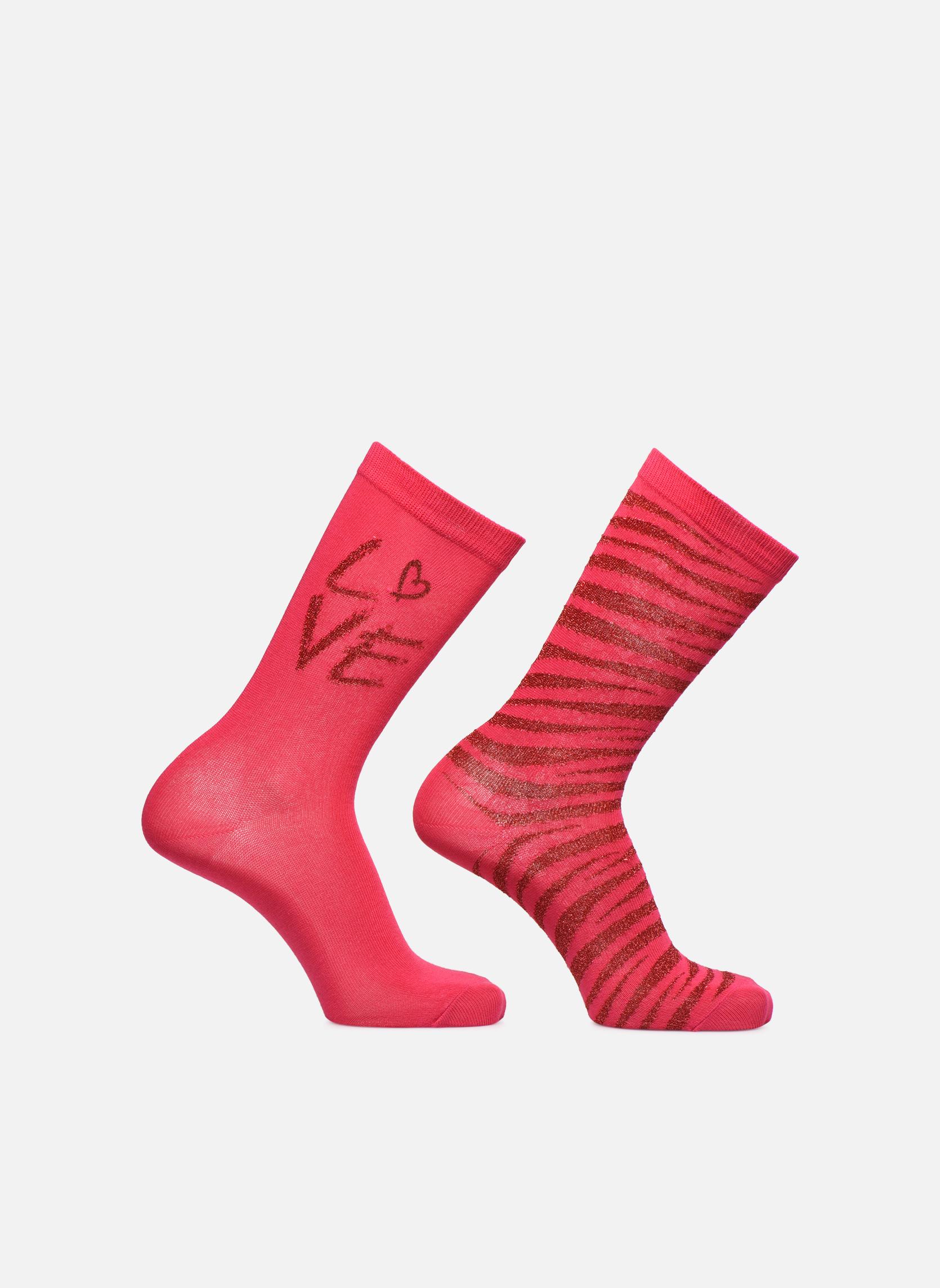 Chaussettes et collants Sarenza Wear Chaussettes uni & léopard Pack de 2 Rose vue détail/paire