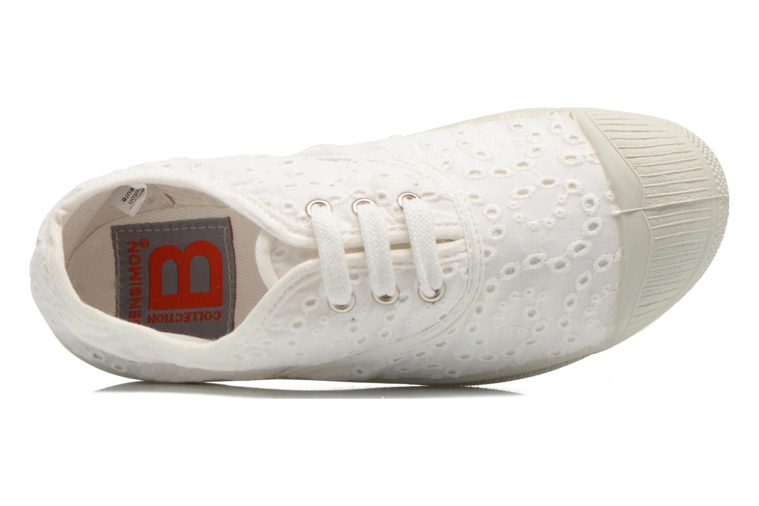 Trainers Bensimon Tennis Broderie Anglaise E White view from the left