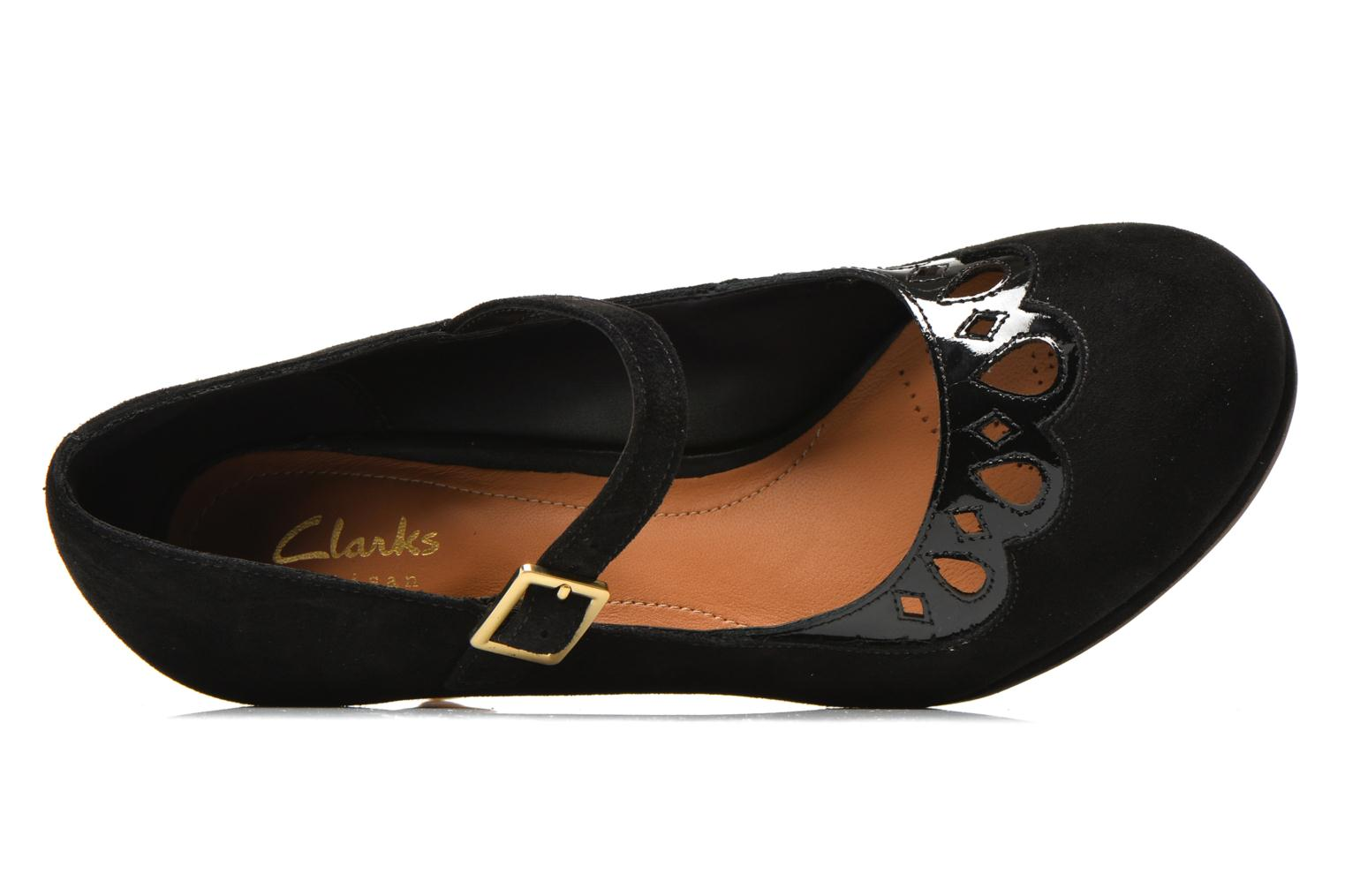High heels Clarks Chorus Music Black view from the left