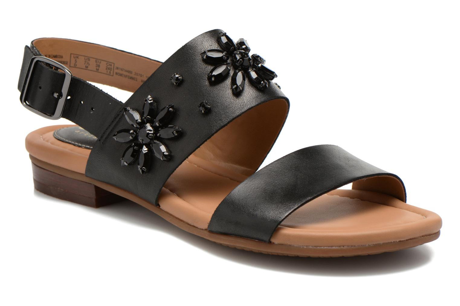 Sandals Clarks Viveca Melrose Black detailed view/ Pair view