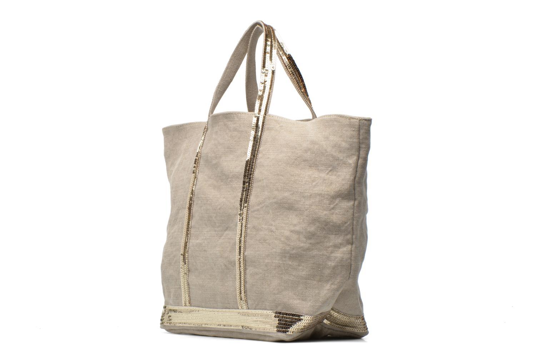 Handbags Vanessa Bruno Cabas Lin paillettes M+ Beige model view