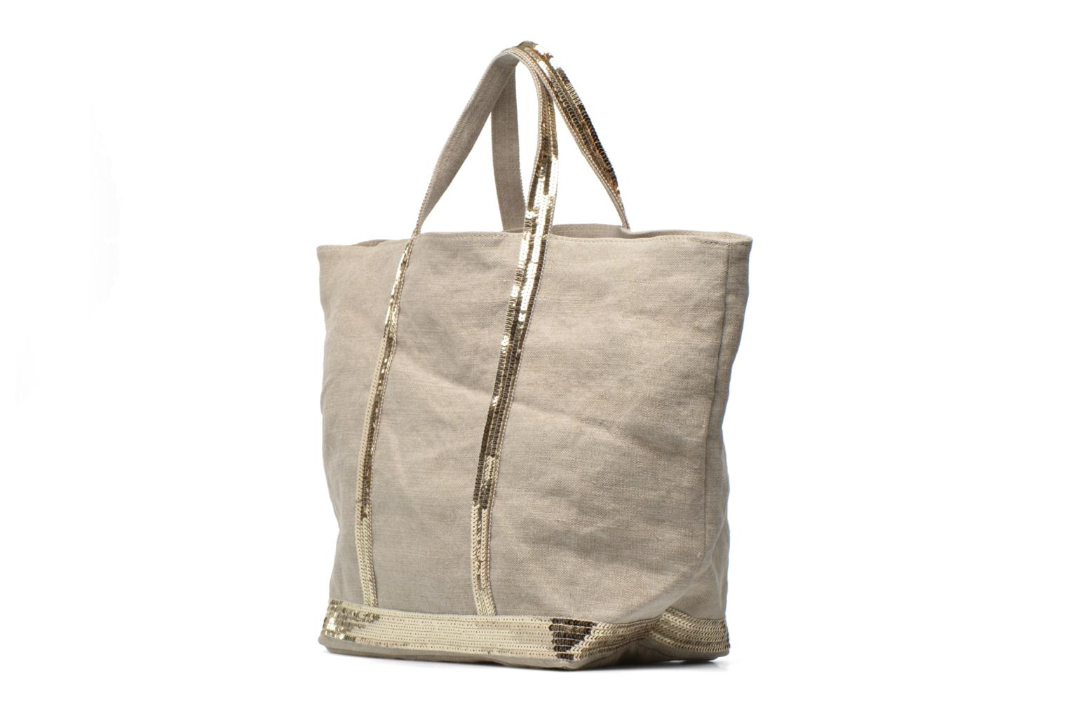 Handbags Vanessa Bruno Cabas Lin paillettes M+ Beige view from the right