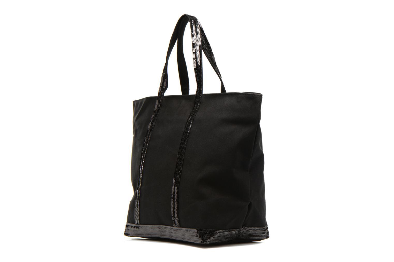 Bolsos de mano Vanessa Bruno Cabas Coton M+ Zip Negro vista del modelo