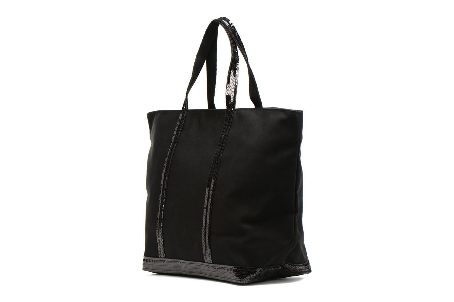 Handbags Vanessa Bruno Cabas Coton M+ Zip Black view from the right