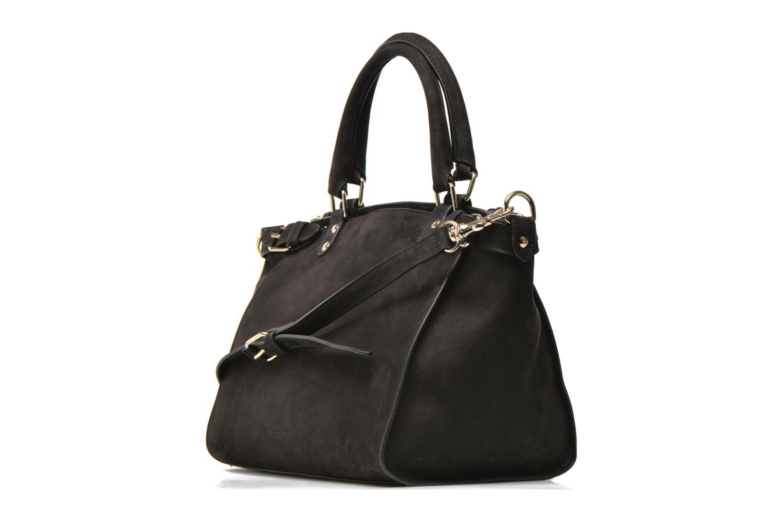 Handtaschen Vanessa Bruno Eclipse M cuir nubucké schwarz ansicht von rechts