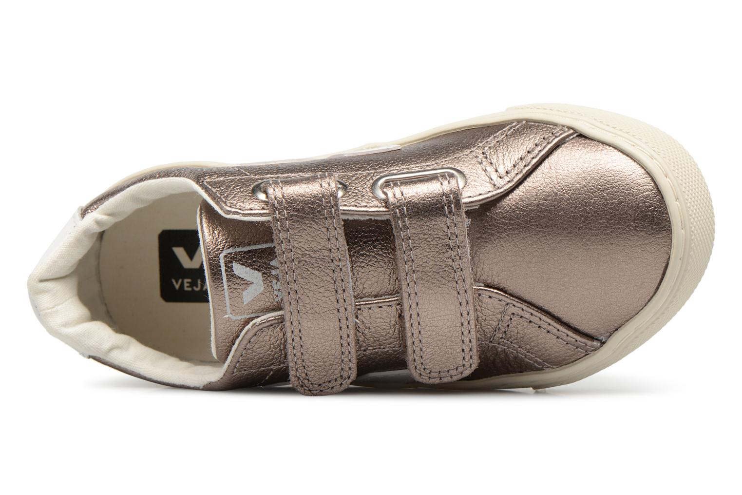 Trainers Veja Esplar Small Velcro Bronze and Gold view from the left