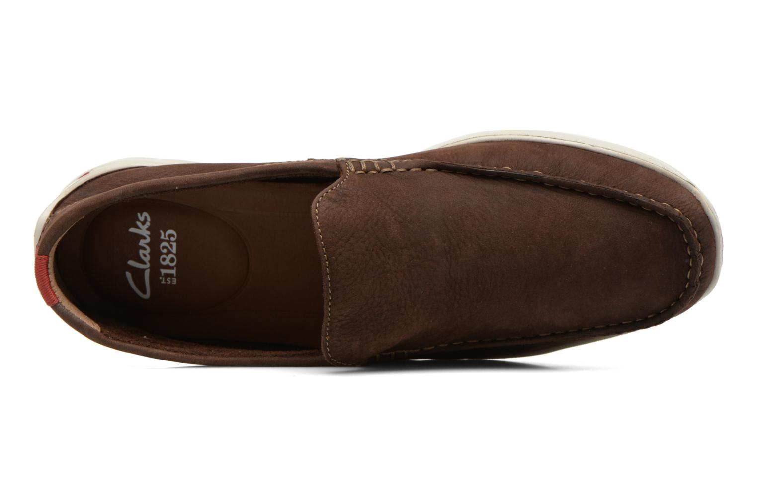 Slipper Clarks Karlock Lane braun ansicht von links