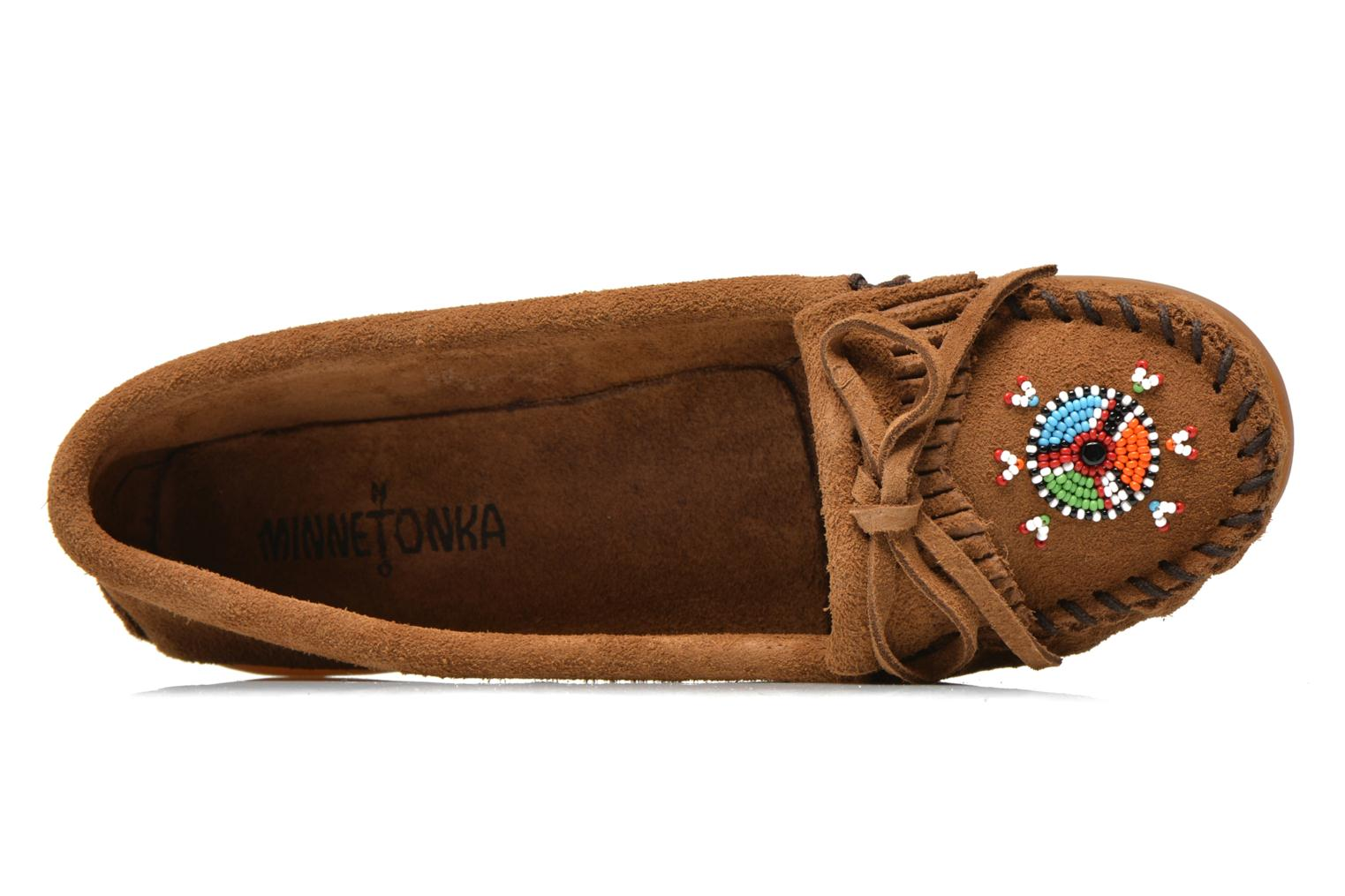 Loafers Minnetonka Me to We moc Brown view from the left
