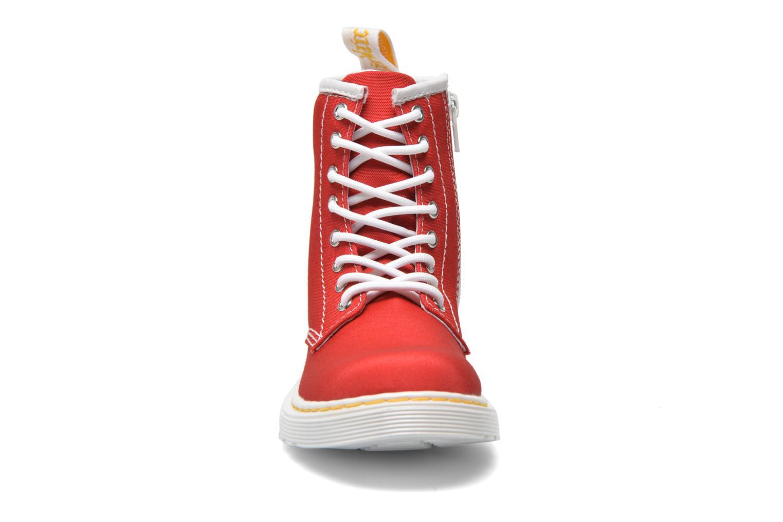 Bottines et boots Dr. Martens Juniors Delaney Lace Boot Canvas Rouge vue portées chaussures