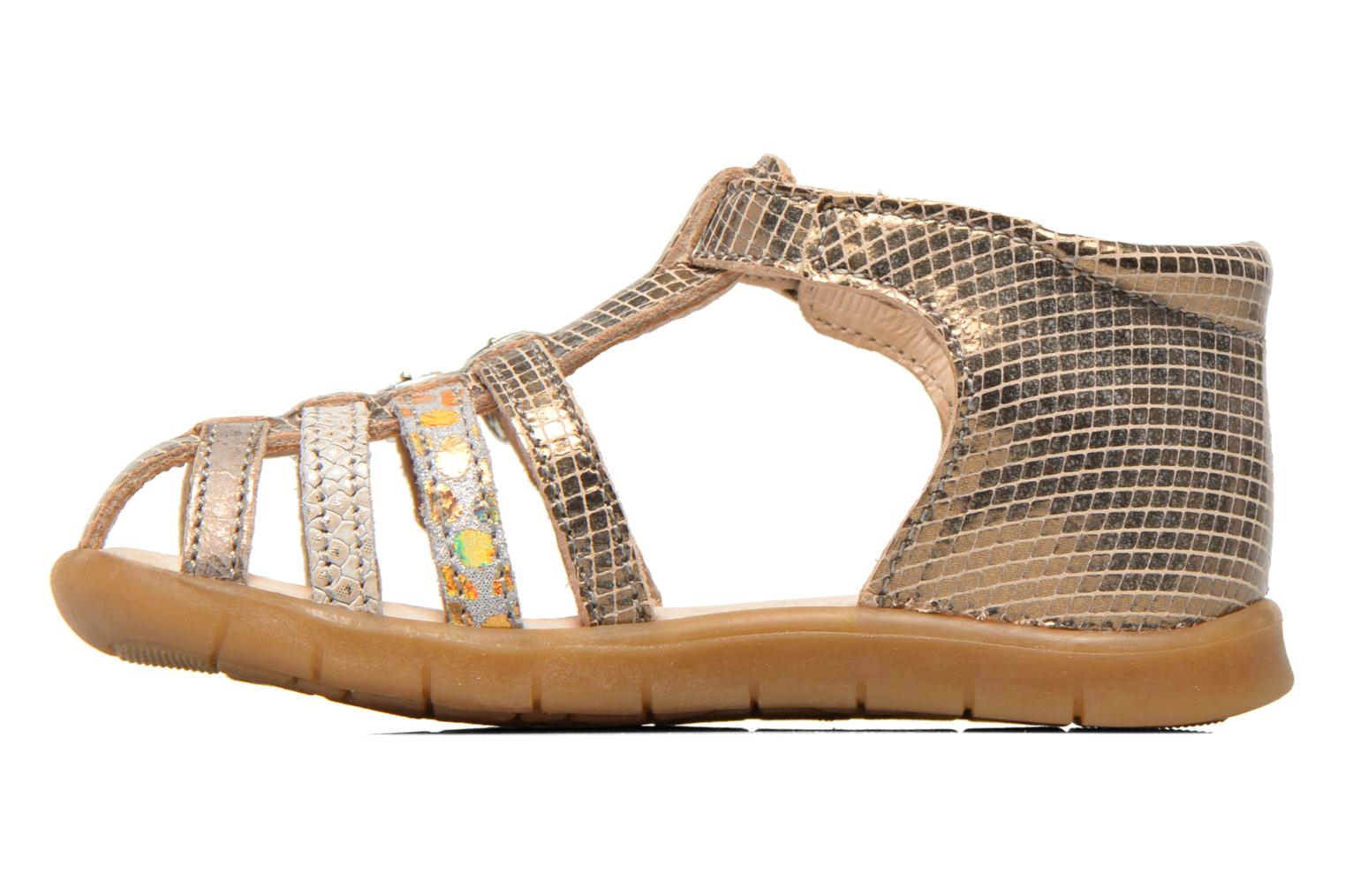 Sandals GBB Mina Bronze and Gold front view