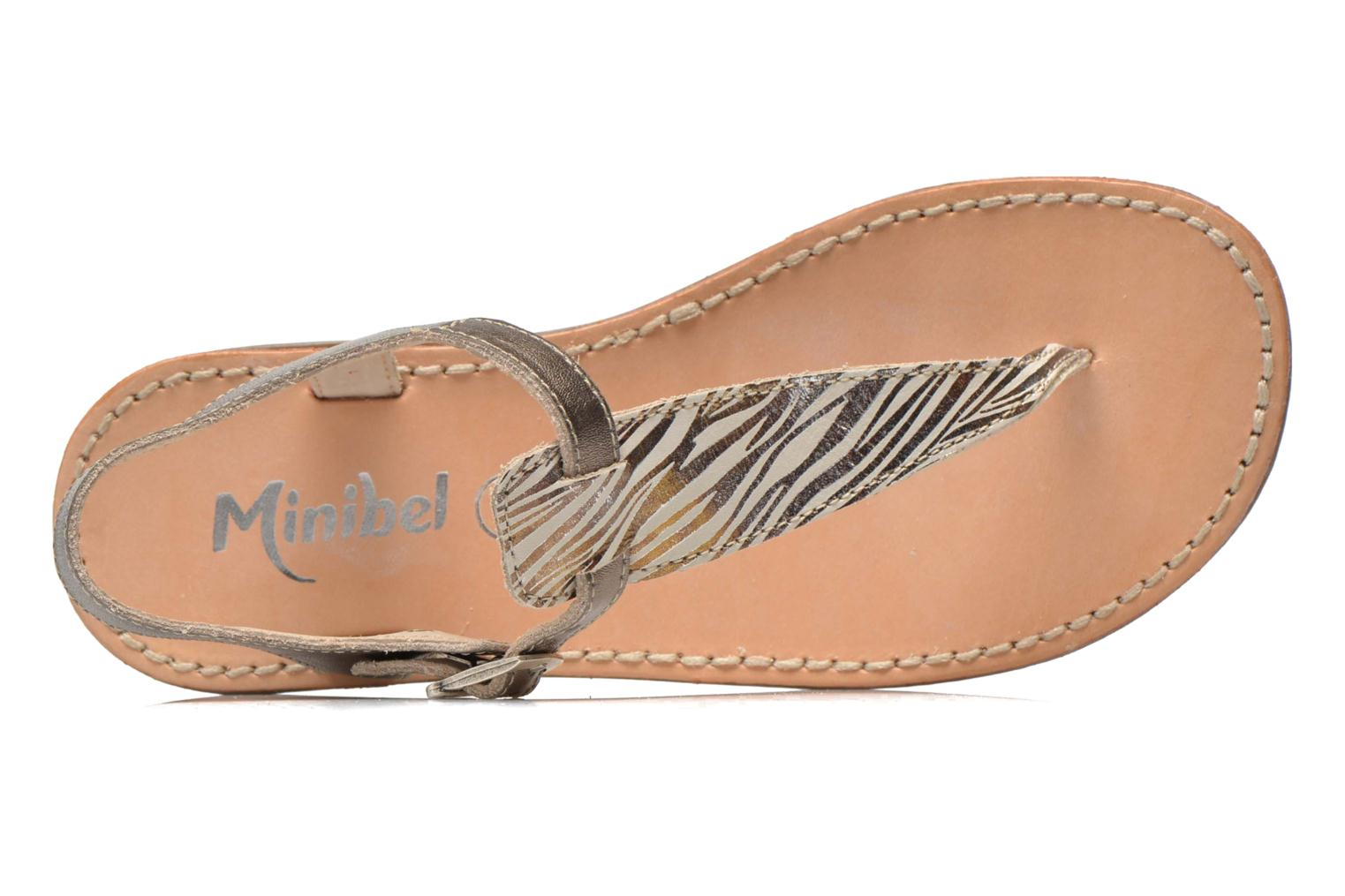Sandals Minibel Klarice Bronze and Gold view from the left