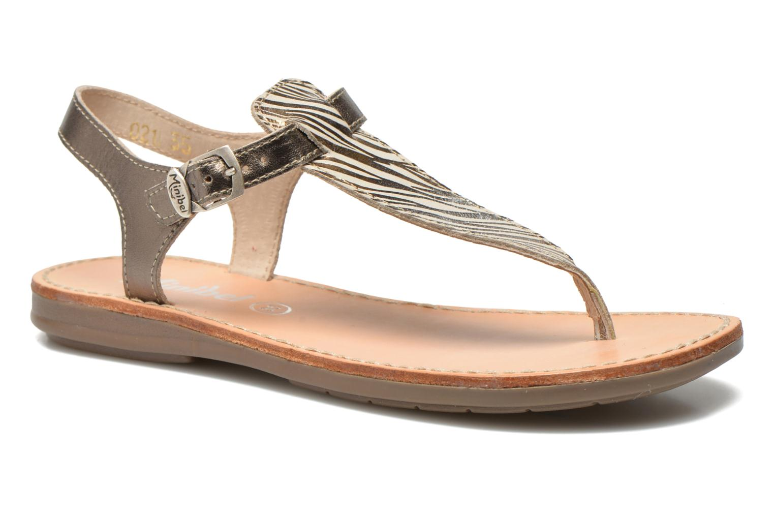 Sandals Minibel Klarice Bronze and Gold detailed view/ Pair view