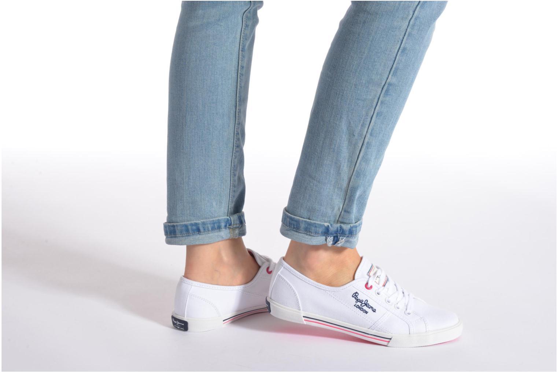 Baskets Pepe jeans Aberlady Sarenza Blanc vue bas / vue portée sac