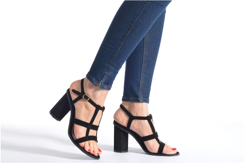 Sandales et nu-pieds Made by SARENZA Square Simone#7 Noir vue bas / vue portée sac