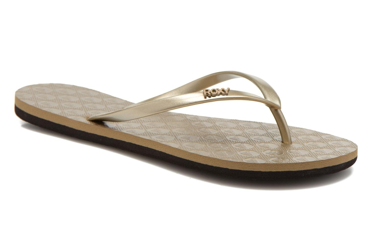 Flip flops Roxy Viva II Bronze and Gold detailed view/ Pair view