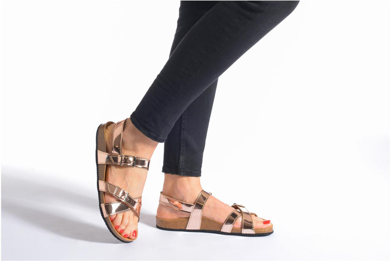 Sandales et nu-pieds Le temps des cerises Adele Or et bronze vue bas / vue portée sac