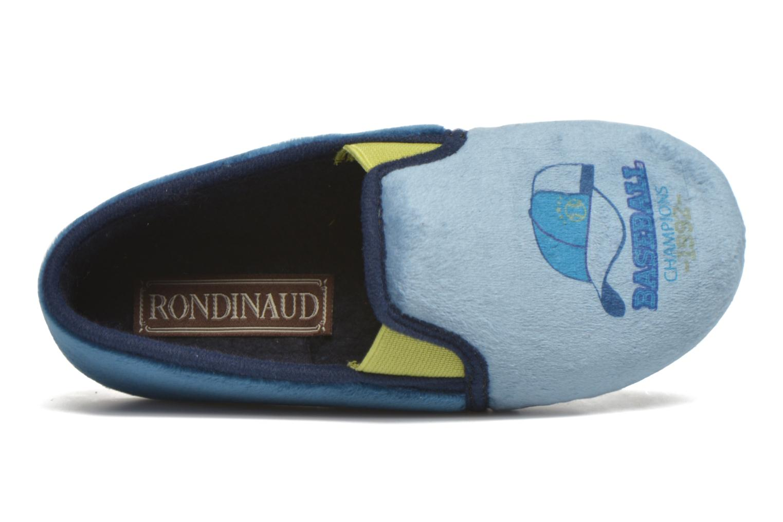 Pantuflas Rondinaud Fanon Azul vista lateral izquierda