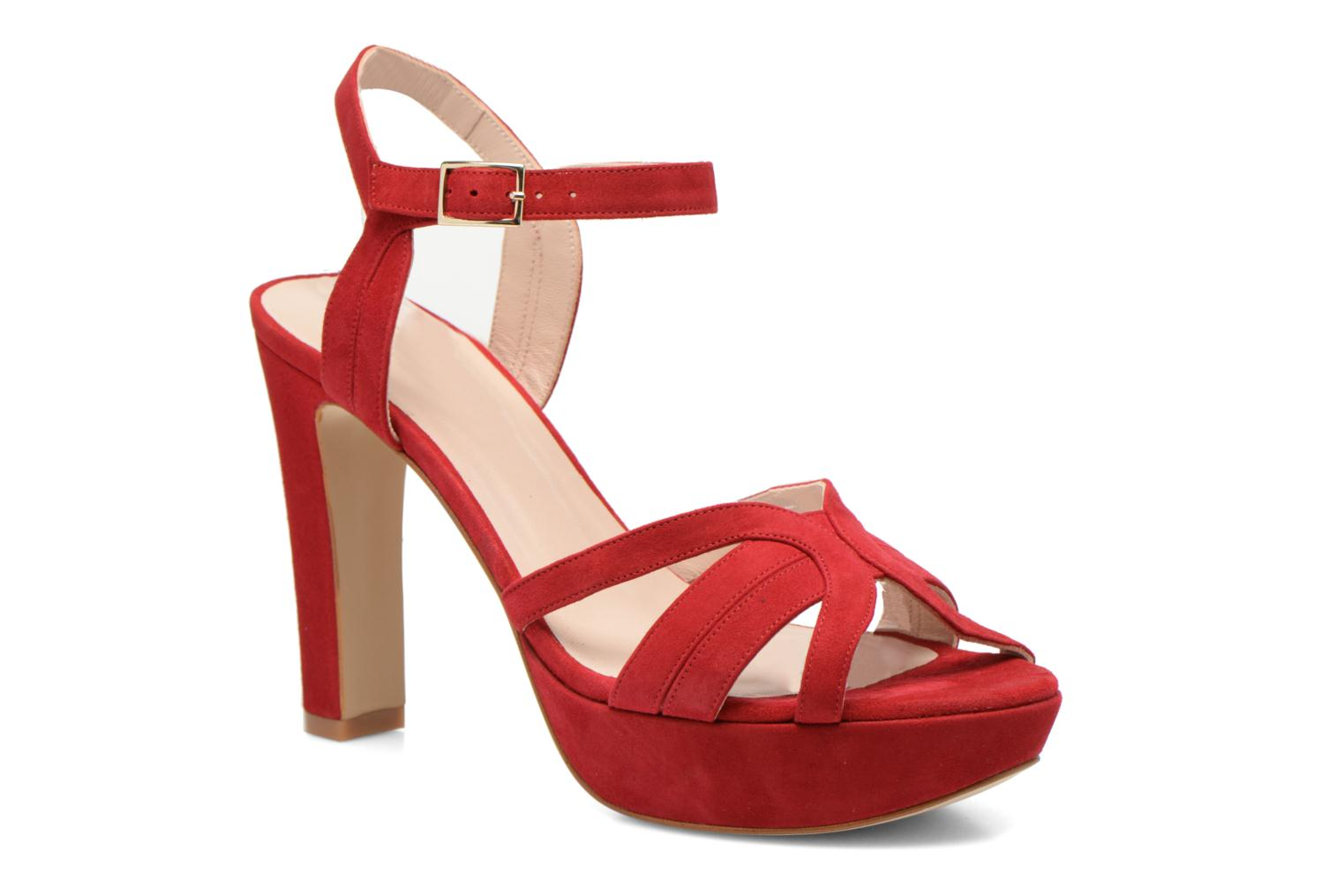 Sandals Minelli F93 688/VEL Red detailed view/ Pair view