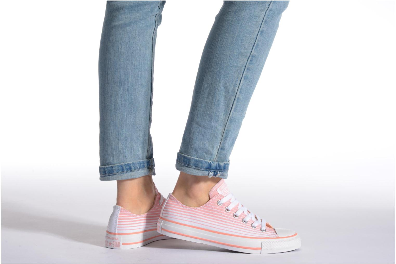 Sneaker Converse Chuck Taylor All Star Ox Seasonal Stripes W rosa ansicht von unten / tasche getragen