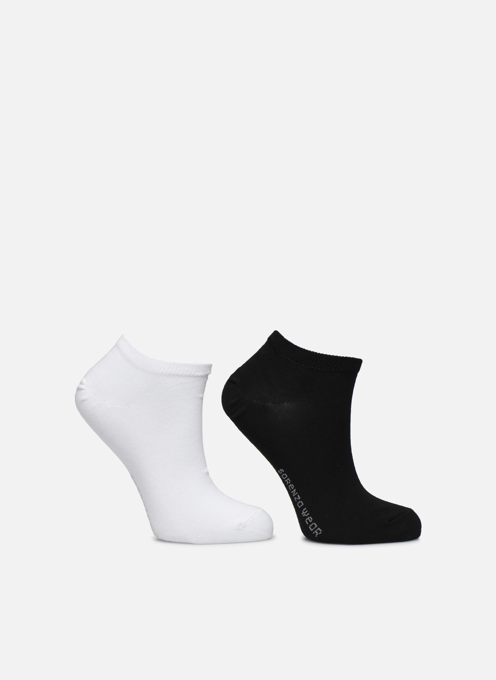 Chaussettes invisibles Femme unies Pack de 2 Coton Noir/blanc