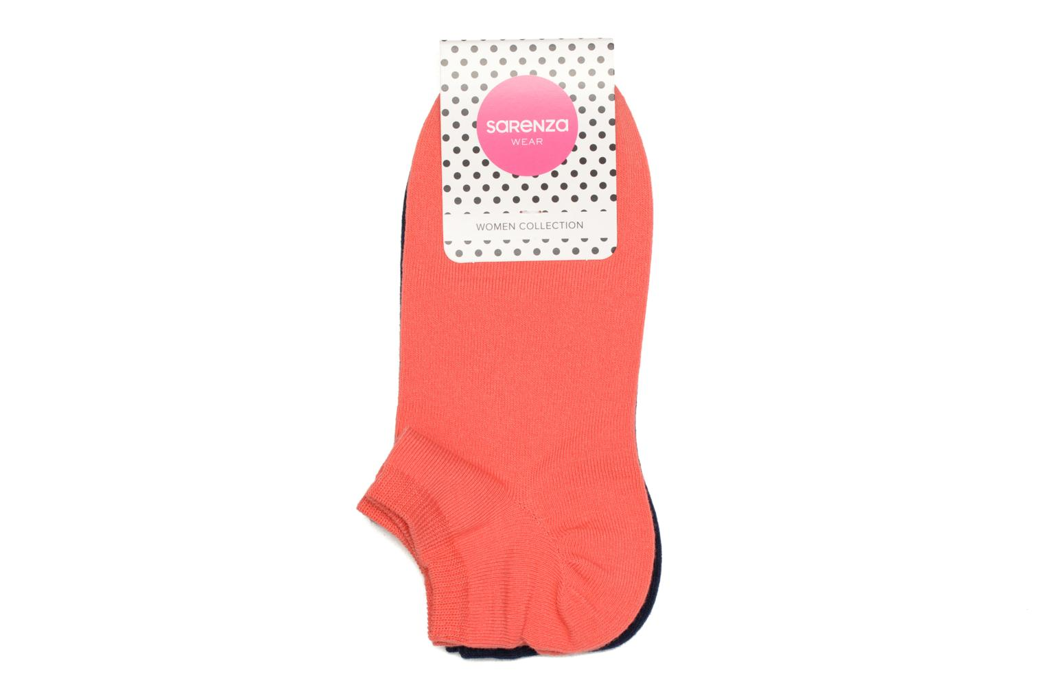 No show socks unies Pack of 2 Corail + bleu marine