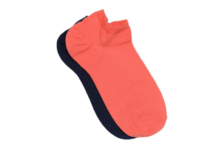 Chaussettes invisibles unies Pack de 2 Corail + bleu marine