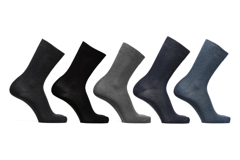 Chaussettes Homme Pack de 5 Unies coton Noir/bleu/gris