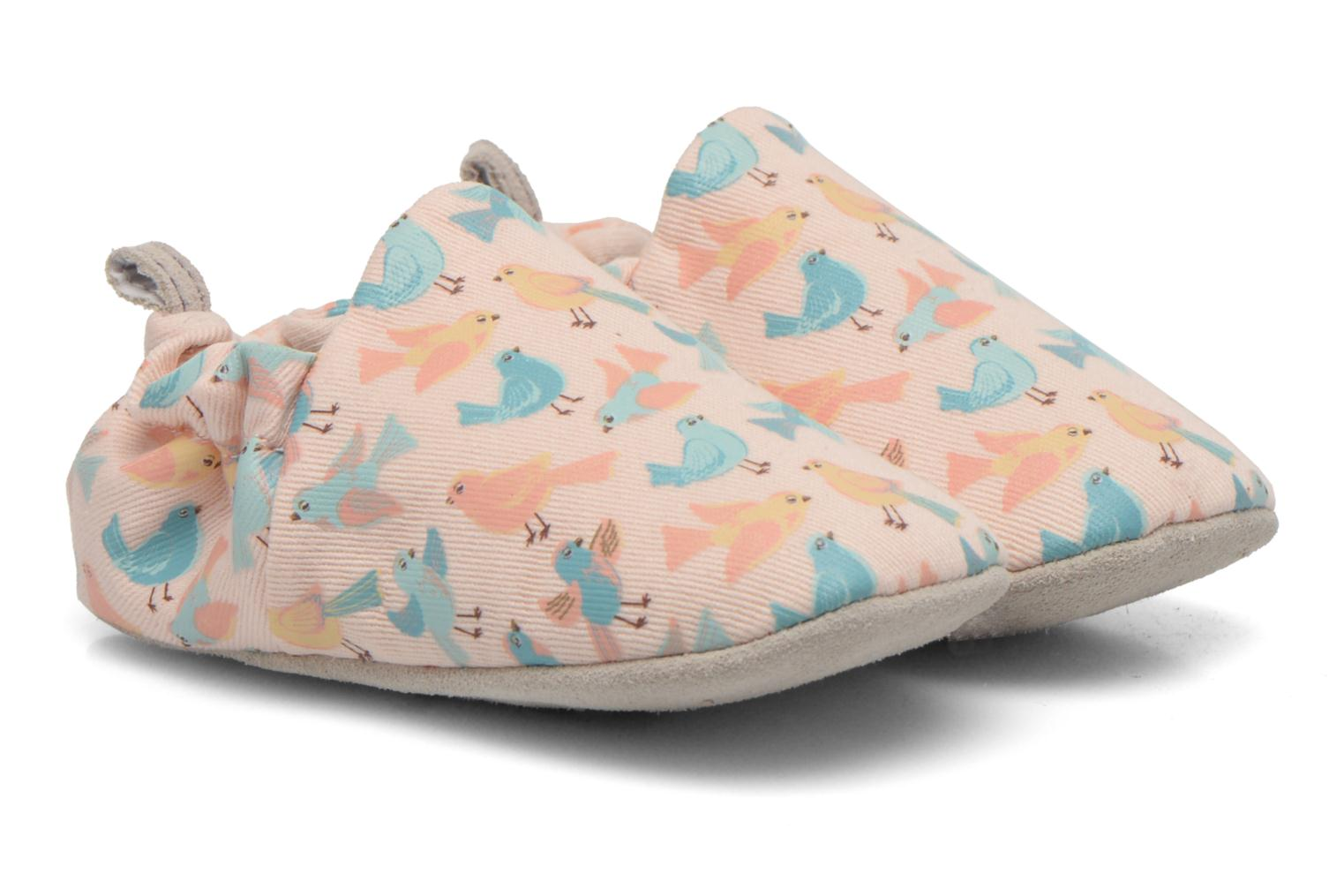 Slippers Poco Nido PASTEL BIRDS Pink detailed view/ Pair view