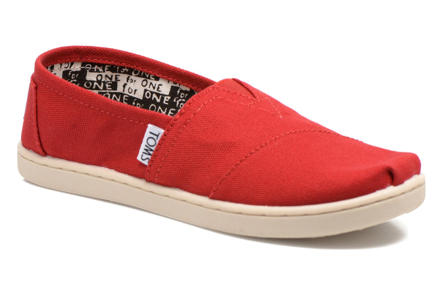 Baskets TOMS Canvas Classics Rouge vue détail/paire