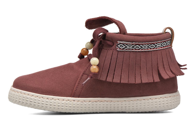 Sneakers Victoria Botin Flecos Serraje Rosso immagine frontale
