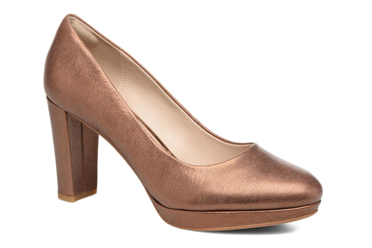 High heels Clarks Kendra Sienna Bronze and Gold detailed view/ Pair view