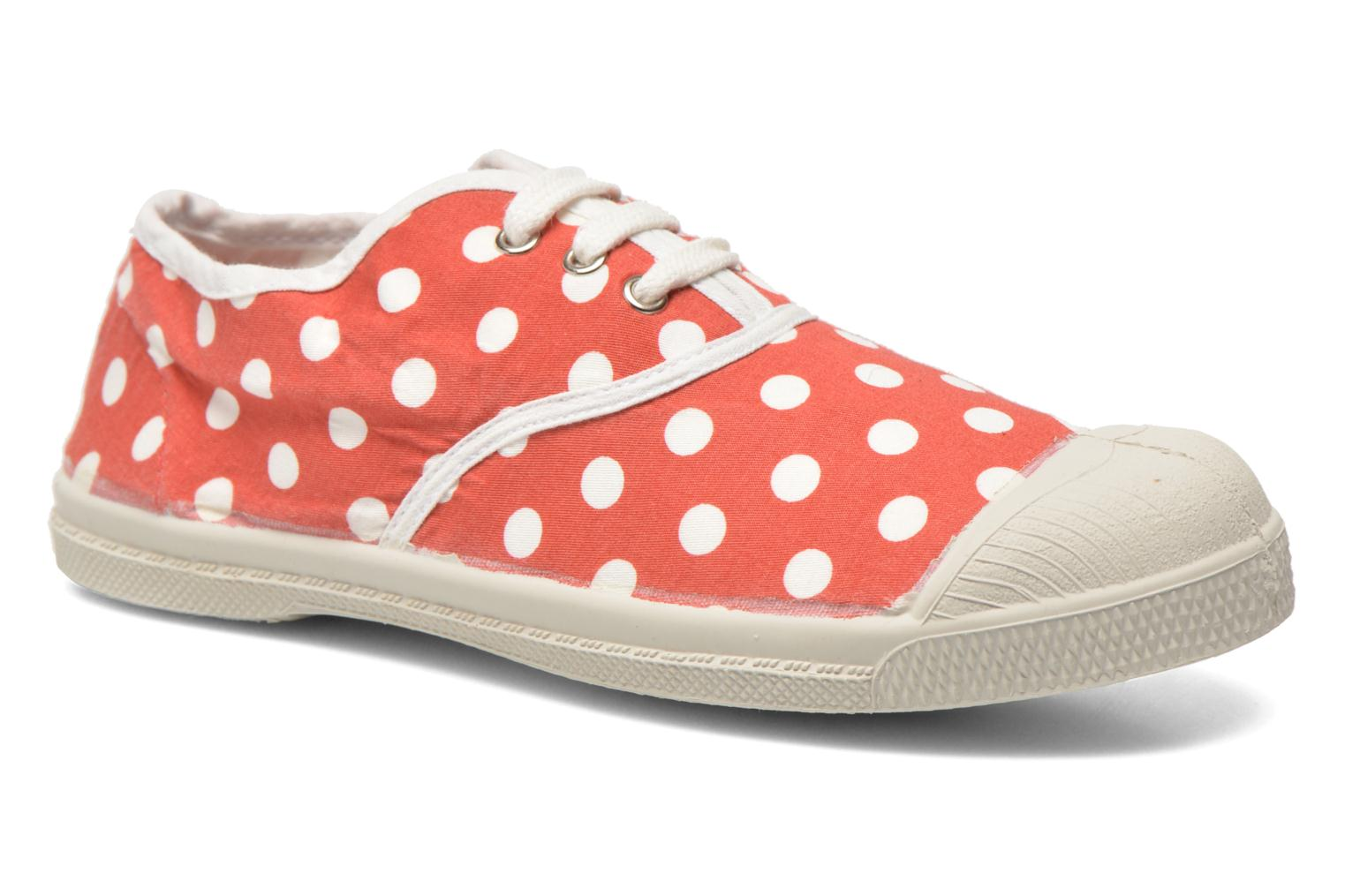 Tennis Lacets Pois E Rouge