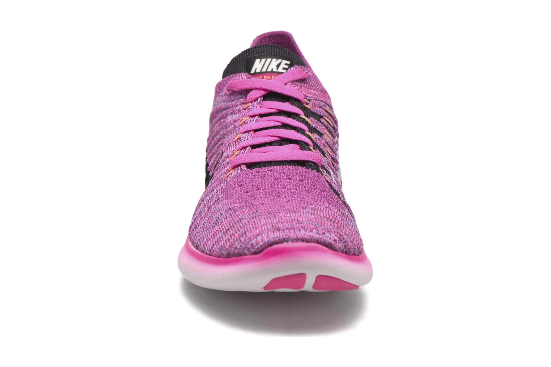 Chaussures de sport Nike Wmns Nike Free Rn Flyknit Rose vue portées chaussures