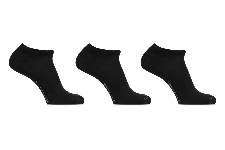 Chaussettes invisibles Homme unies Pack de 3 Coton Noir