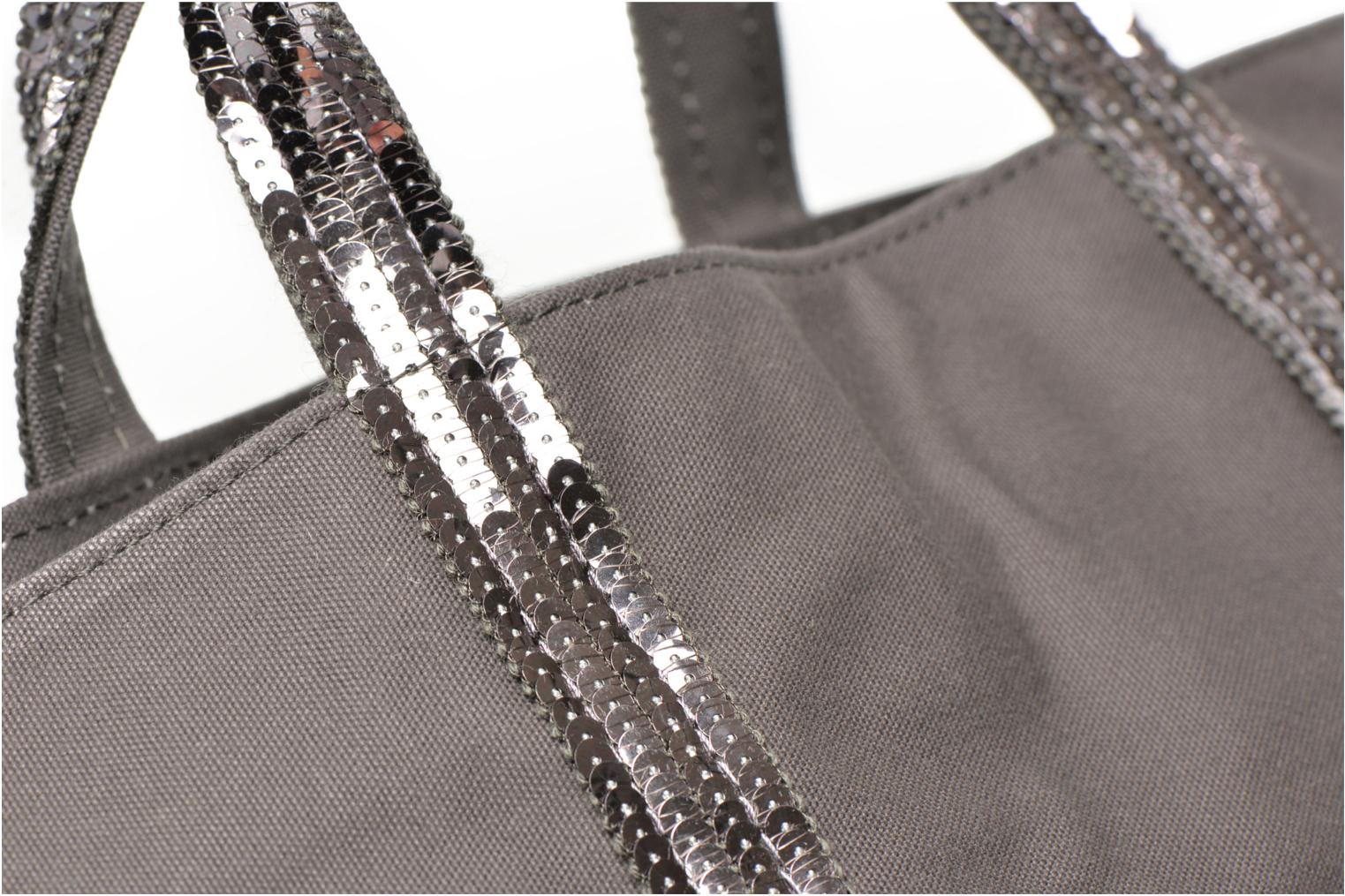 Handbags Vanessa Bruno Cabas paillettes toile Porté main M Grey view from the left