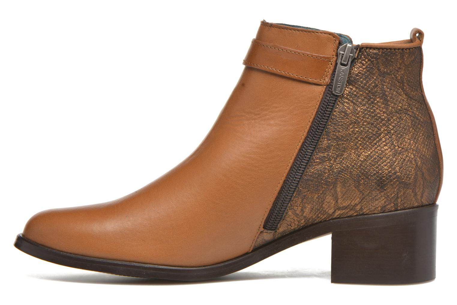 Ankle boots Karston GLELIN *Mult Vo Truck CAMEL ~Doubl & 1ere CUIR Brown front view