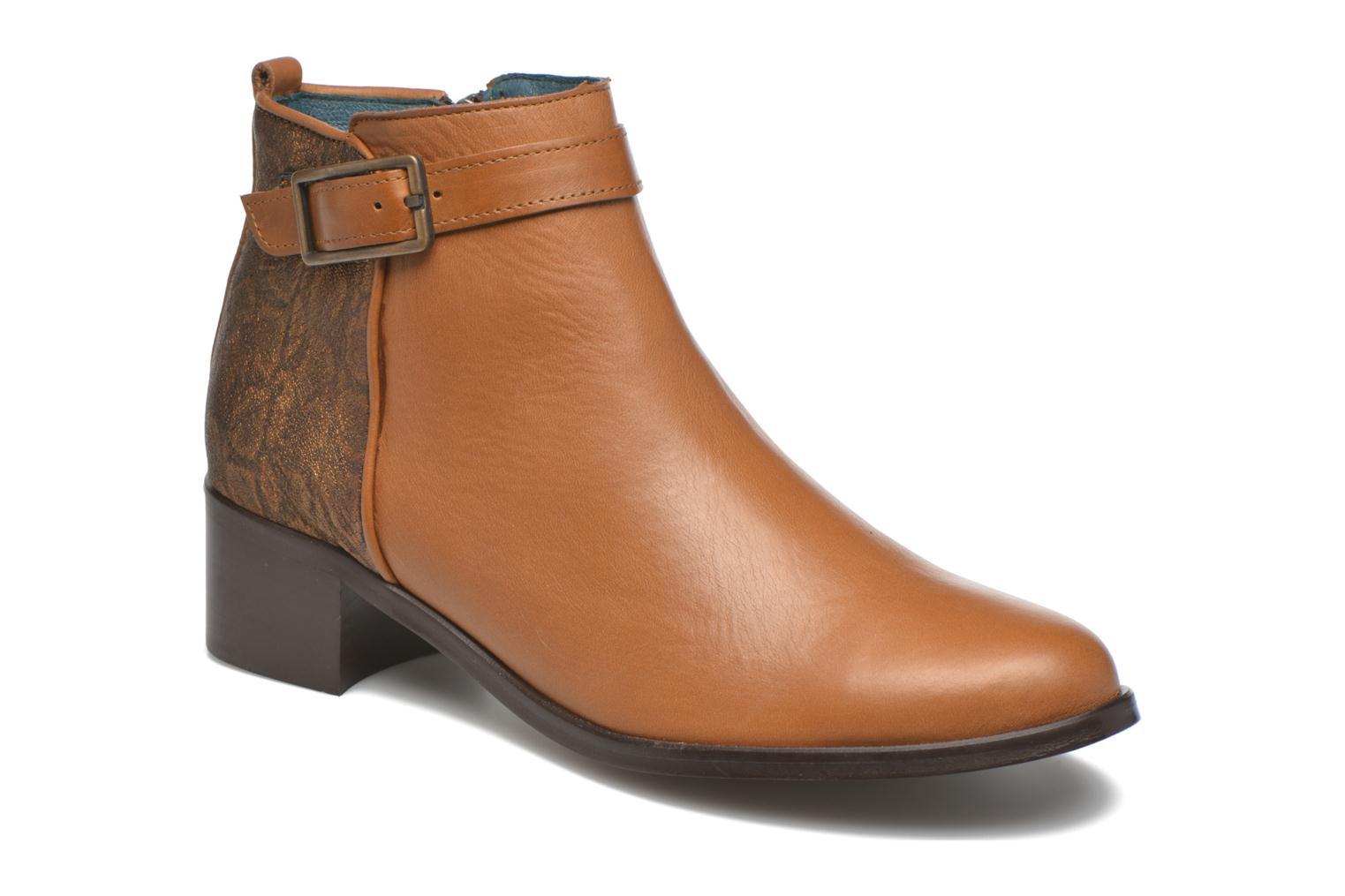 Ankle boots Karston GLELIN *Mult Vo Truck CAMEL ~Doubl & 1ere CUIR Brown detailed view/ Pair view