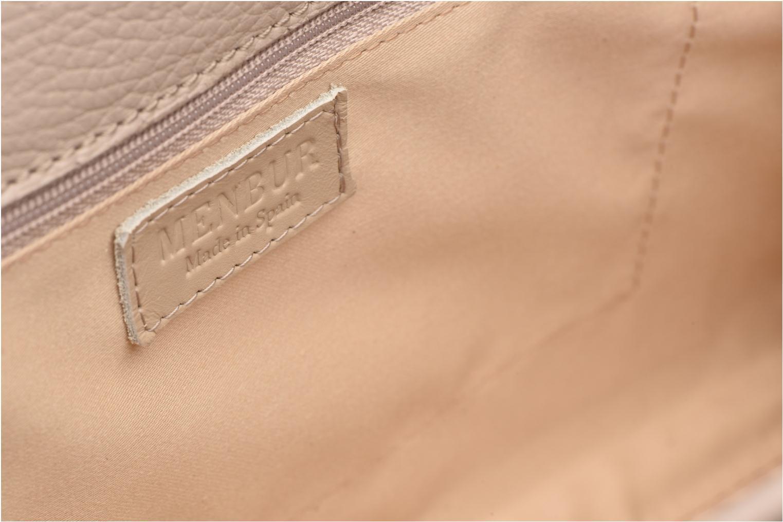 Mini Bags Menbur Pochette grainée pompon beige ansicht von hinten