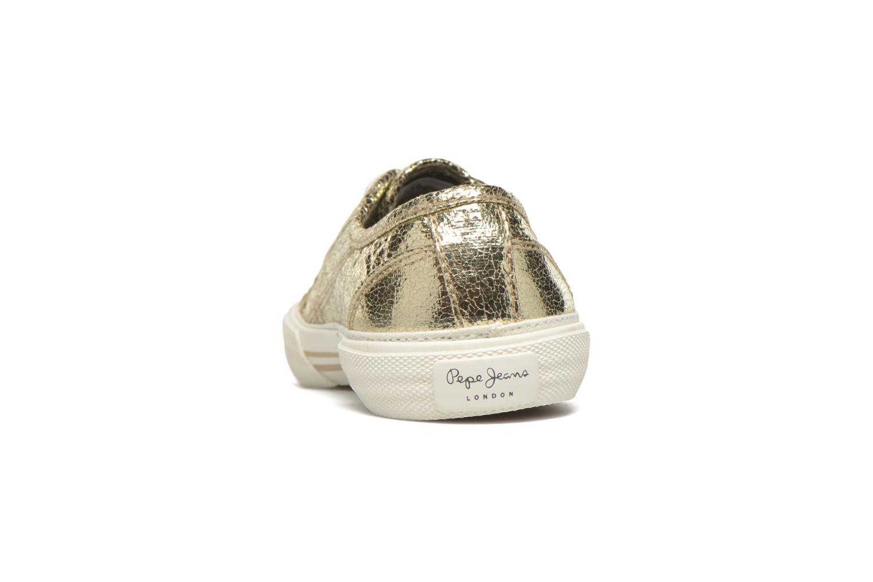 Baskets Pepe jeans Aberlady Crackle Or et bronze vue droite