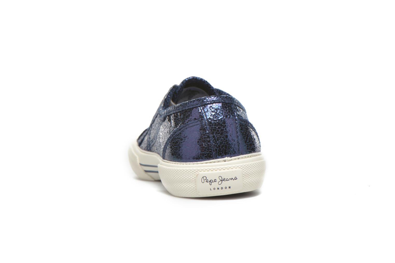 Baskets Pepe jeans Aberlady Crackle Bleu vue droite