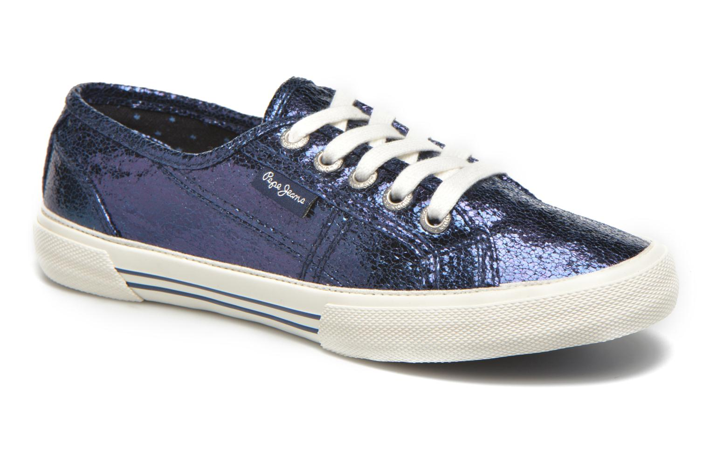 Baskets Pepe jeans Aberlady Crackle Bleu vue détail/paire