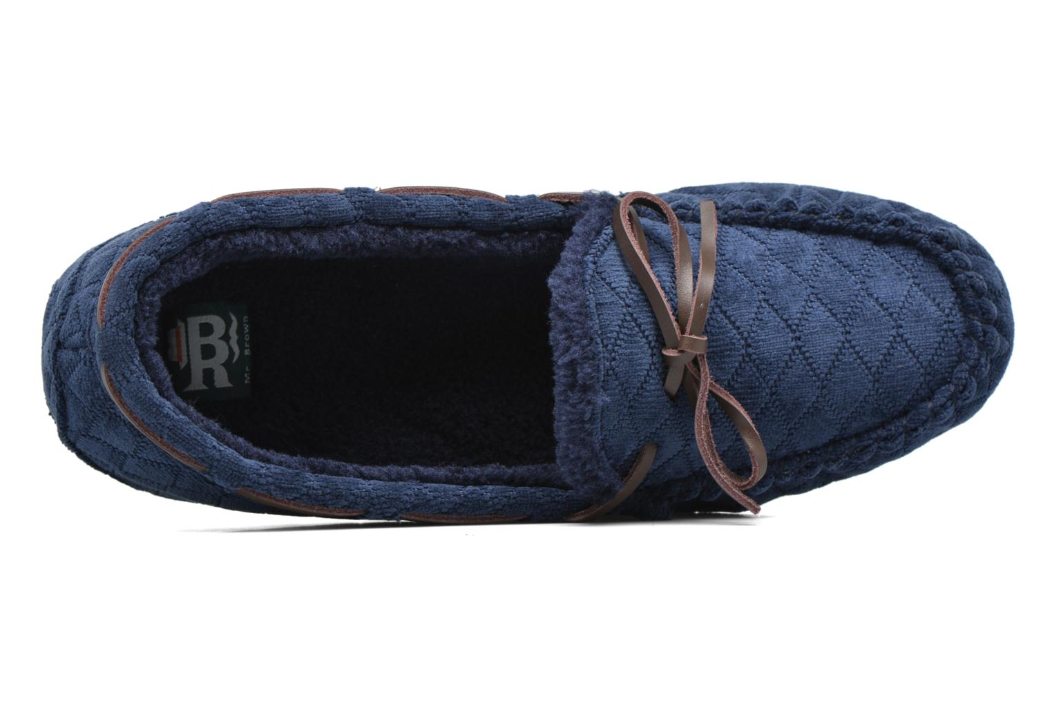 Slippers Ruby Brown Finlay Blue view from the left