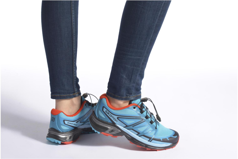 Chaussures de sport Salomon Wings Pro 2 W Bleu vue bas / vue portée sac