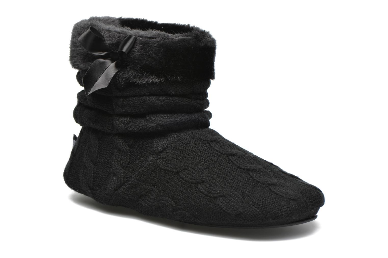 Chaussons Isotoner Botillon maille et fourrure Noir vue portées chaussures