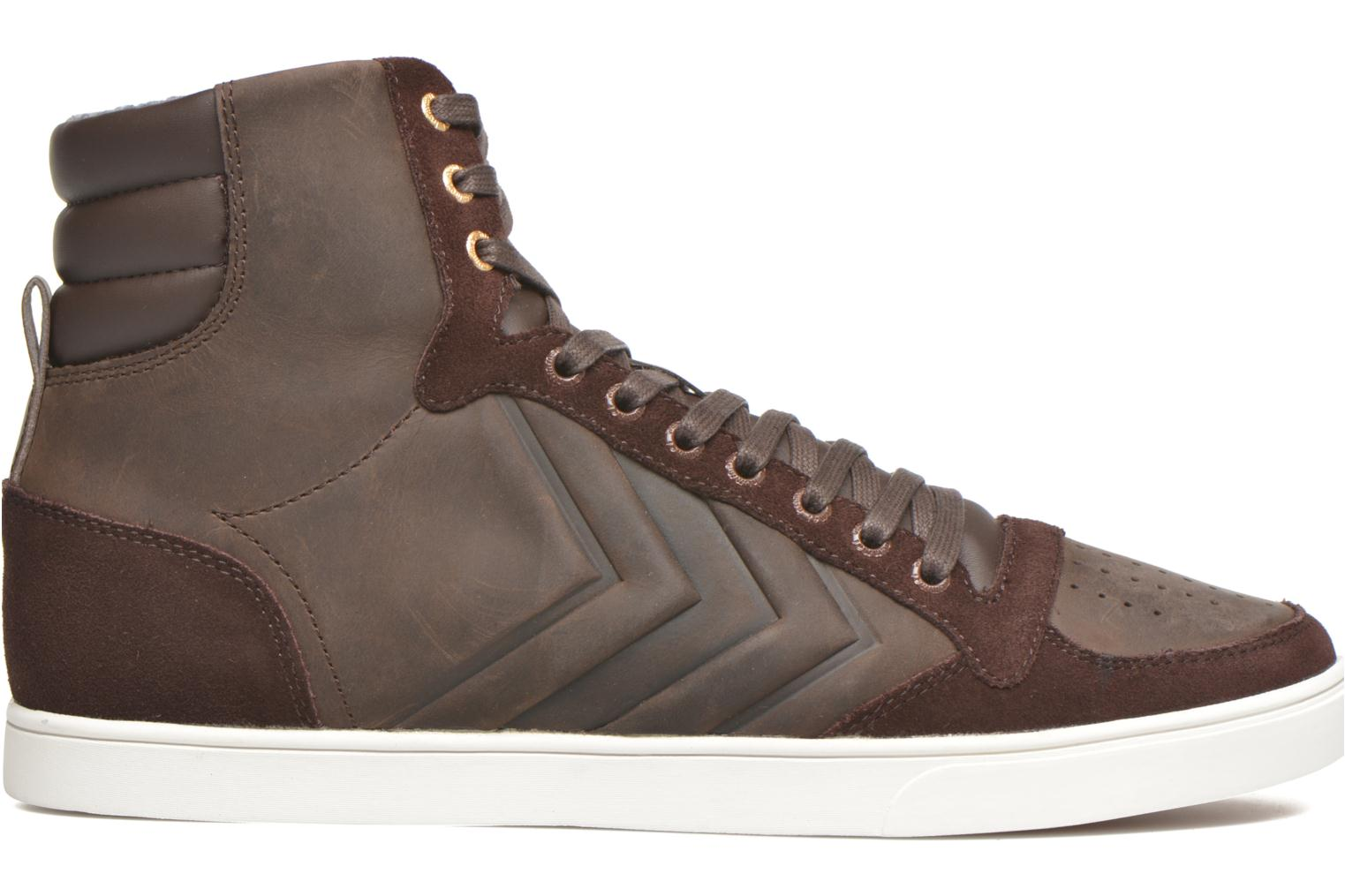 Sneakers Hummel Ten Star Mono Oiled High Brun se bagfra
