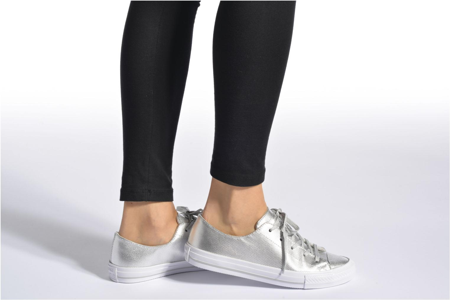 Trainers Converse Ctas Gemma Diamond Foil Leather Ox Bronze and Gold view from underneath / model view
