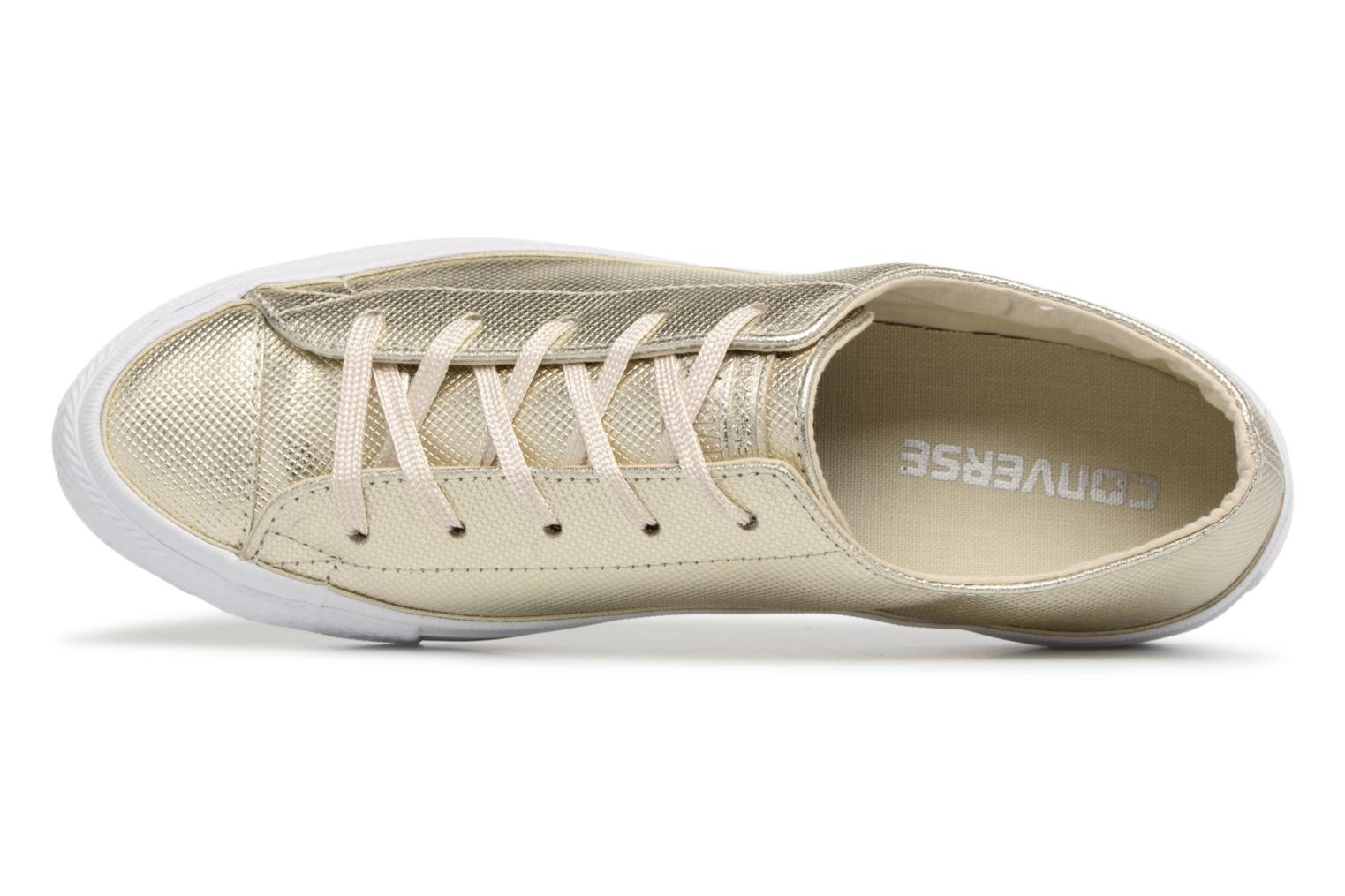 Trainers Converse Ctas Gemma Diamond Foil Leather Ox Bronze and Gold view from the left