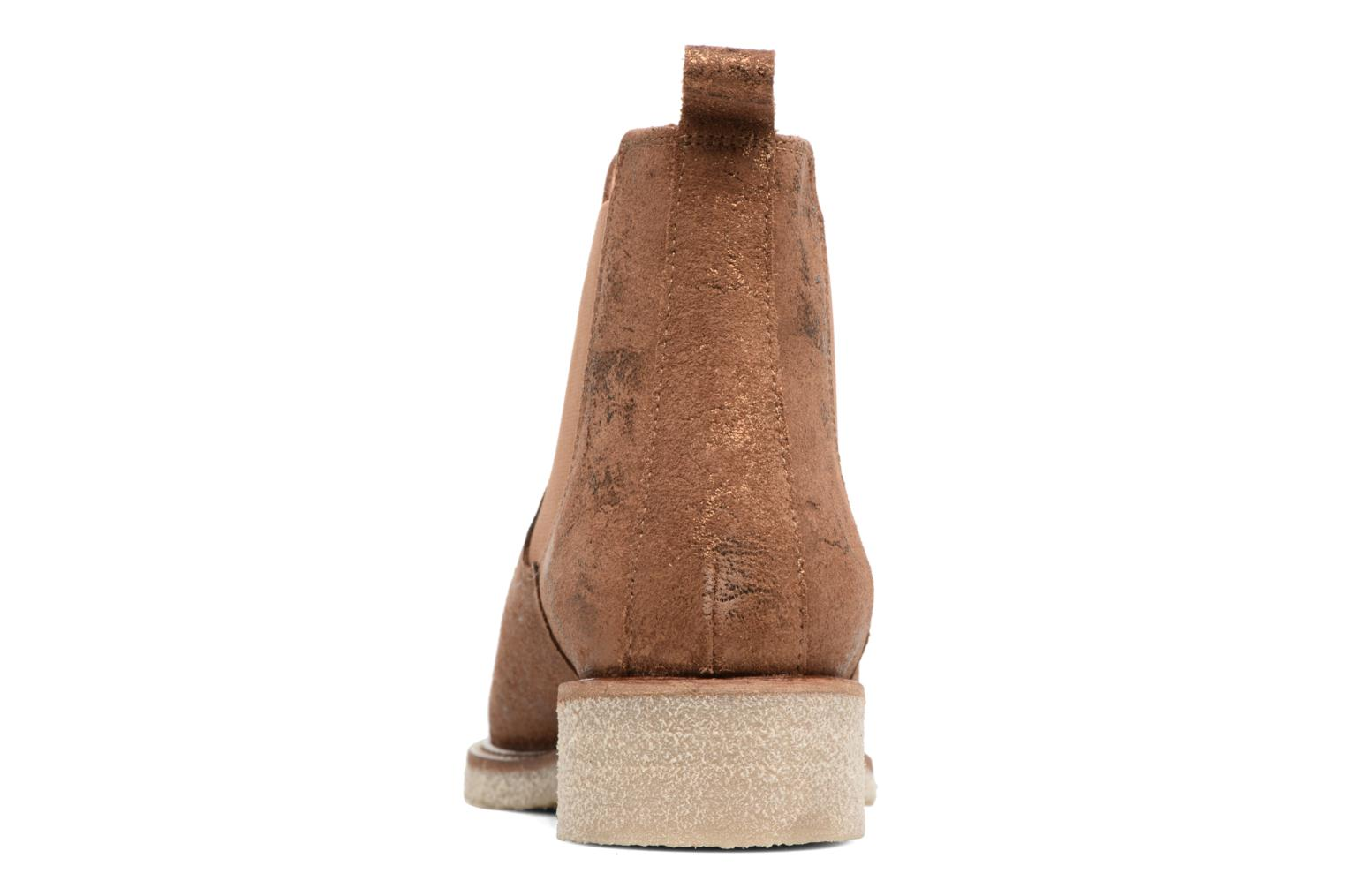 Ankle boots Bensimon Boots semelle crepe Bronze and Gold view from the right