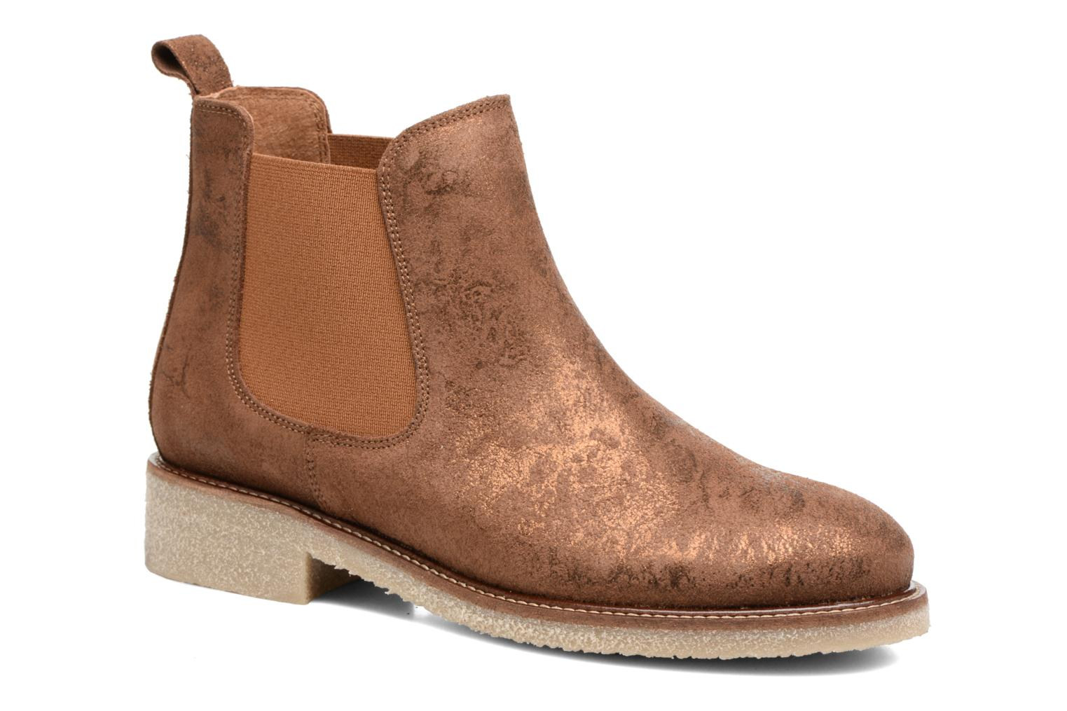 Ankle boots Bensimon Boots semelle crepe Bronze and Gold detailed view/ Pair view